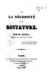 De la nécessité d'une dictature