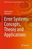 Error Systems  Concepts  Theory and Applications PDF