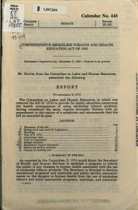 Comprehensive Smokeless Tobacco and Health Education Act of 1985