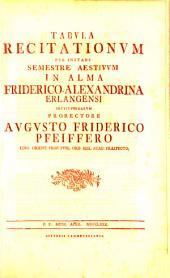 Tabula recitationum per instans semestre in Akademia Regia Friderico-Alexandrina Erlangensi instituendarum: SS 1780