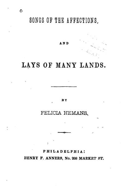 Download Songs of the Affections and Lays of Many Lands Book