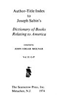 Author title Index to Joseph Sabin s Dictionary of Books Relating to America PDF