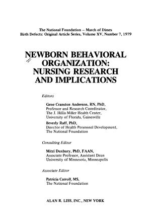 Newborn Behavioral Organization