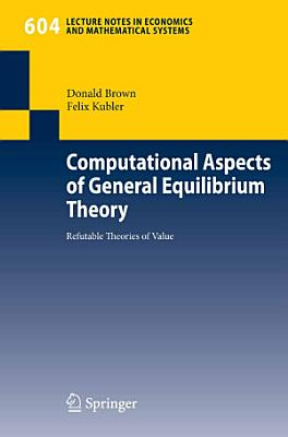 Computational Aspects of General Equilibrium Theory PDF