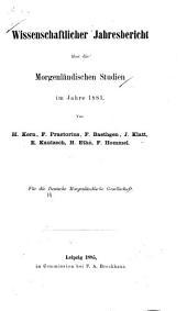 Wissenschaftlicher Jahresbericht über die morgenländischen Studien ...
