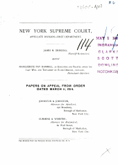New York Supreme Court Appellate Division-First Department Papers on Appeal from Order Dated March 11, 1914