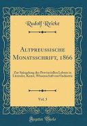 Altpreu  ische Monatsschrift  1866  Vol  3 PDF