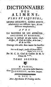 Dictionnaire des Alimens, vin, et liqueurs ...