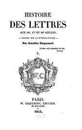 Histoire des lettres, cours de Littératúres comparées: V