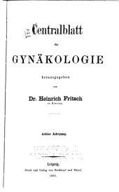 Zentralblatt für Gynäkologie: Band 8