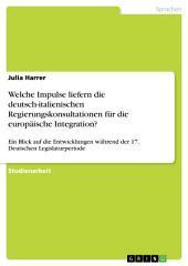 Welche Impulse liefern die deutsch-italienischen Regierungskonsultationen für die europäische Integration?: Ein Blick auf die Entwicklungen während der 17. Deutschen Legislaturperiode