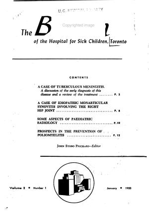 Bulletin of the Hospital for Sick Children  Toronto PDF