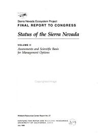 Sierra Nevada Ecosystem Project Final Report to Congress  Assessments and scientific basis for management options PDF