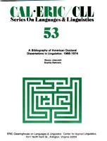 A Bibliography of American Doctoral Dissertations in Linguistics  1968 1974 PDF