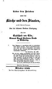 Ueber den Frieden unter der Kirche und den Staaten, nebst Bemerkungen über die bekannte Berliner Darlegung. Zweite Auflage