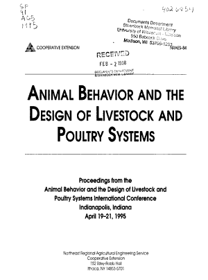 Animal Behavior and the Design of Livestock and Poultry Systems PDF