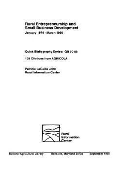 Rural Entrepreneurship and Small Business Development PDF