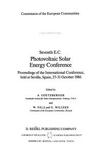 Seventh E C  Photovoltaic Solar Energy Conference PDF