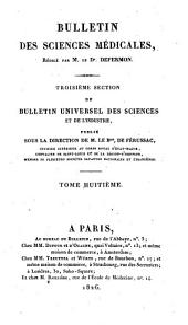 Bulletin des sciences médicales: troisième section du Bulletin universel des sciences et de l'industrie, Volume8