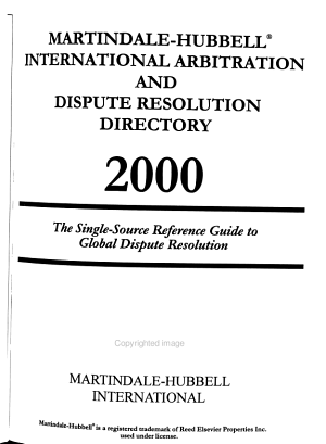 Martindale Hubbell International Arbitration and Dispute Resolution Directory PDF