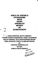 Voice of America Interviews with Eight American Women of Achievement PDF