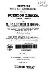 Estudios sobre las constituciones de los pueblos libres
