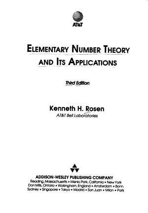 Elementary Number Theory and Its Applications PDF