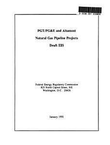 PGT/PG&E and Altamont Natural Gas Pipeline Projects (CA,ID,MT,OR,UT,WA, WY)