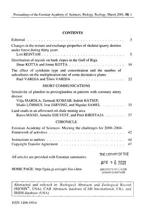 Proceedings of the Estonian Academy of Sciences PDF