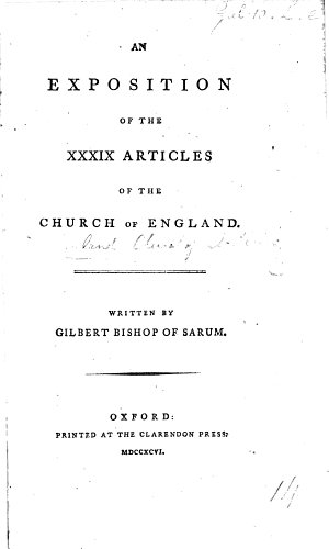 An Exposition of the Thirty nine Articles     The third edition corrected