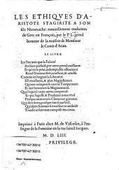Les Ethiqves D'Aristote Stagirite A Xon filz Nicomache