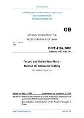 GB/T 4162-2008: Translated English of Chinese Standard. Read online or on eBook, DRM free. True PDF at www_ChineseStandard_net. (GBT 4162-2008, GB/T4162-2008, GBT4162-2008): Forged and rolled steel bars - Method for ultrasonic testing.