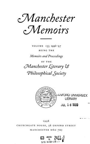 Manchester Memoirs PDF