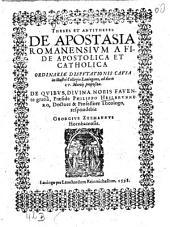 De apostasia Romanensium a fide apostolica et catholica