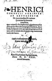 De incertitudine et vanitate scientiarum declamatio invectiva (etc.)