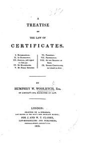 A treatise on the law of Certificates