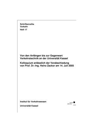 Von den Anf  ngen bis zur Gegenwart   Verkehrstechnik an der Universit  t Kassel