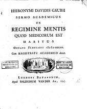 12Sermo academicus de regimine mentis quod medicorum est