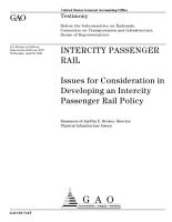 Intercity passenger rail issues for consideration in developing an intercity passenger rail policy PDF