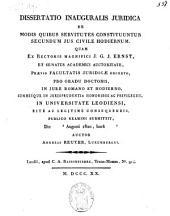 De modis quibus servitutes constituuntur secundum jus civile hodiernum