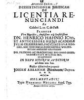 De licentia renuntiandi; praes: Henr. Hahn. - Helmestadii, Henn. Muller 1666