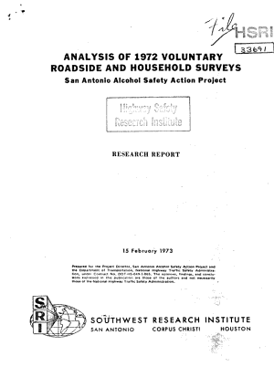 Analysis Of 1971 Voluntary Roadside And Household Surveys