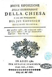 Breve esposizione della giurisdizione della Chiesa o sia Dei fondamenti del Jus canonico