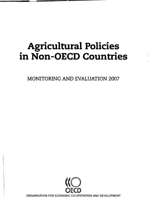 Agricultural Policies in Non OECD Countries Monitoring and Evaluation 2007 PDF