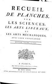 RECUEIL DE PLANCHES, SUR LES SCIENCES, LES ARTS LIBÉRAUX, ET LES ARTS MÉCHANIQUES, AVEC LEUR EXPLICATION.: Planches. HUITIEME VOLUME, 254 Planches, Volume29