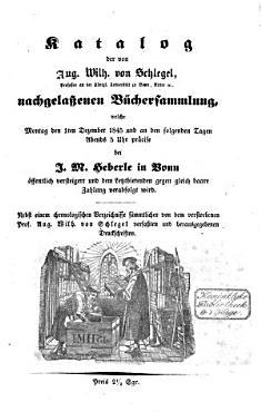 Veilingcatalogus  boeken Aug  Wilh  von Schlegel  1 6 december 1845 PDF
