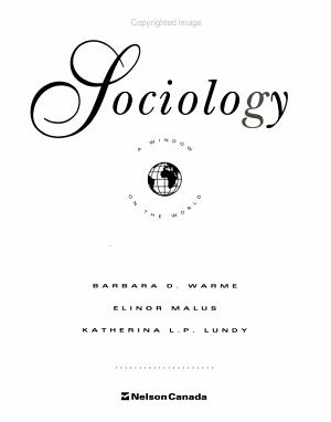 Sociology : a Window on the World