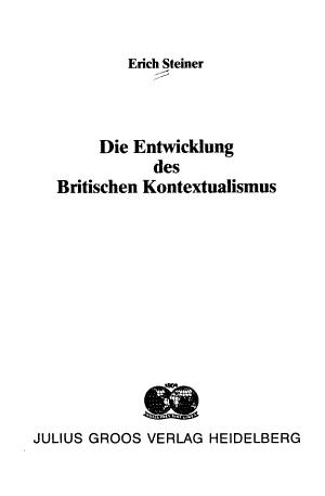 Die Entwicklung des britischen Kontextualismus PDF