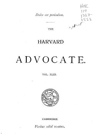 The Harvard Advocate PDF