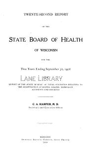 Report of the State Board of Health of Wisconsin     1907 08 PDF